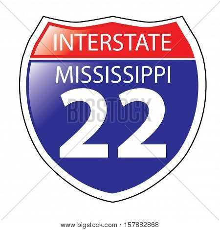 Layered artwork of Mississippi I-22 Interstate Sign