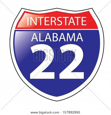 Layered artwork of Alabama I-22 Interstate Sign