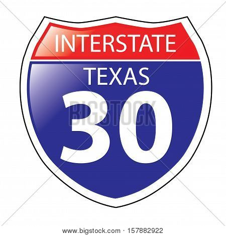 Layered artwork of Texas I-30 Interstate Sign