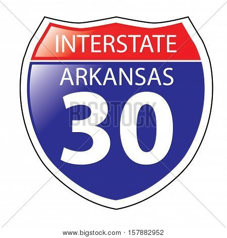 Layered artwork of Arkansas I-30 Interstate Sign