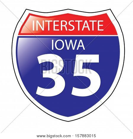 Layered artwork of Iowa I-35 Interstate Sign