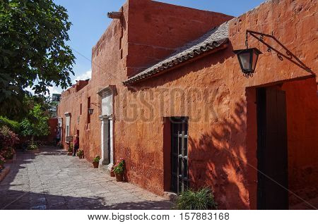 Arequipa, Peru - January 2, 2014: Colorful walls inside of monastery of St. Catherine at Arequipa Peru