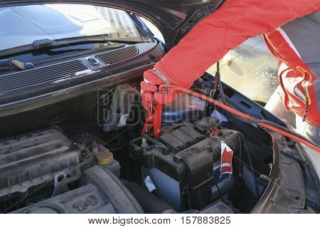 Problems with battery attempt to start the car in cold weather.wires and clam terminals on car battery
