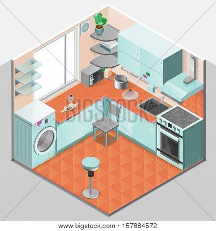 Kitchen interior isometric template with washer oven chair shelves microwave sink ventilation and appliances isolated vector illustration
