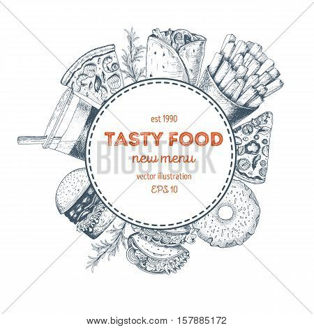 Vector fast food illustration. Junk food frame illustration. Menu label with pizza drink french fries hot roll and burger. Linear graphic.