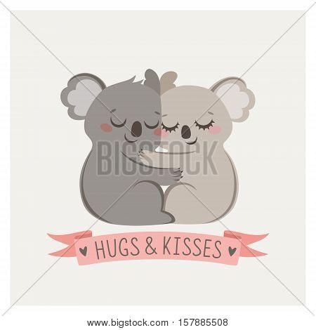 Cute card with loving couple of koalas