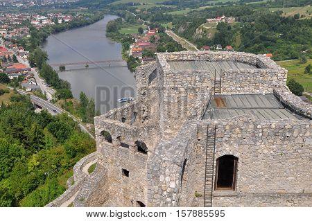 famous stone old Strecno castle in Slovakia