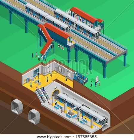 Underground composition with station platform people and tickets isometric vector illustration