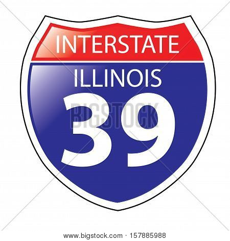 Layered artwork of Illinois I-39 Interstate Sign