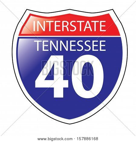 Layered artwork of Tennessee I-40 Interstate Sign