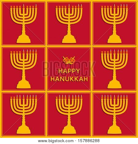 Eight candels of Hanukkah for every day holiday. Beautiful greeting card.