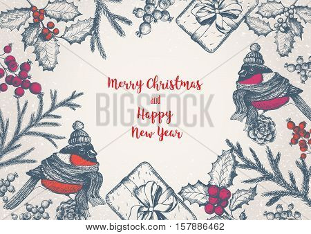 Christmas greeting card or invitation design. Vintage background with candle lamp needles cones fir and bird. Xmas cute bird dressed in scarf and cap. Linear graphic. New year vector illustration.