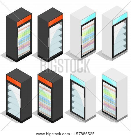 Commercial refrigerator for drinks in cans and bottles. Isometric isolated on white background. Refrigeration equipment for shops and supermarkets. Vector illustration.