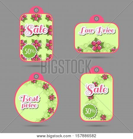 Set of price tags with hand drawn flowers on green. Vector illustration.