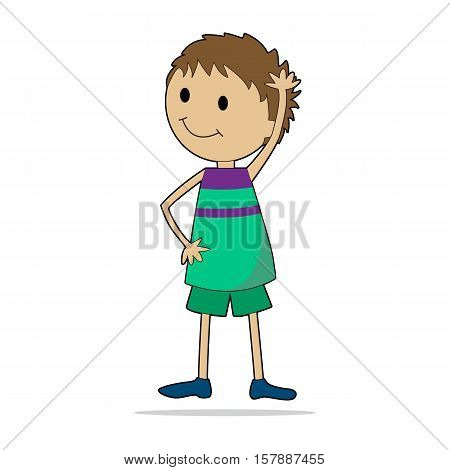 Character illustration. Cute little boy. Cartoon personage isolated on white background.