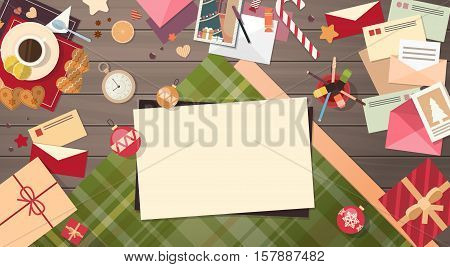 Decorated Workspace Desk Copy Space Top Angle View Flat Vector Illustration