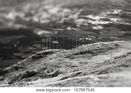Oppdal mountain elevators tilted bokeh background hd