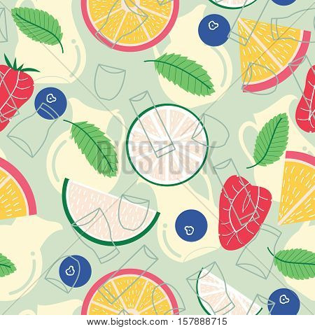 Seamless pattern with fresh fruit lemonade: grapefruit lime mint strawberry and blueberry. Tropical non-alcohol fruit lemonade background.