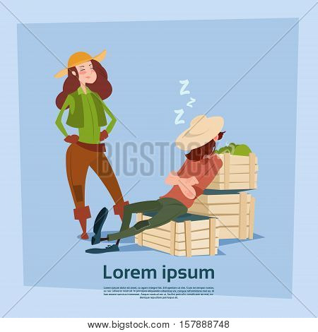 Country Woman Stand At Farmer Countryman Sleeping On Boxes Flat Vector Illustration