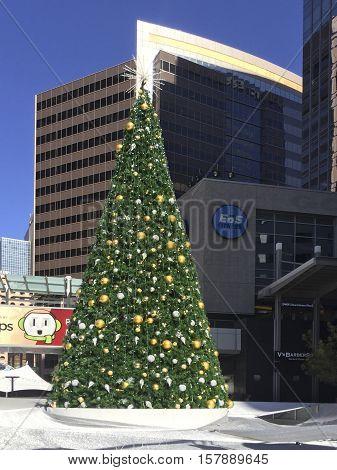 PHOENIX AZ - NOVEMBER 17 2016: City Christmas tree decorated before Thanksgiving in downtown of Phoenix Arizona