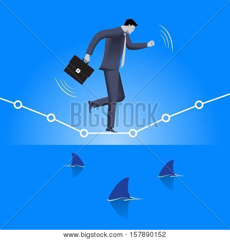 Balancing over dangerous water business concept. Confident businessman in business suit with case balancing on graph over the sea full of shark fins. High concurrent business.