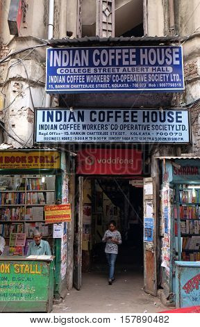 KOLKATA, INDIA - FEBRUARY 11: Indian Coffee House in Kolkata on February 11, 2016. The India Coffee House chain was started by the Coffee Cess Committee in 1936 in Bombay.