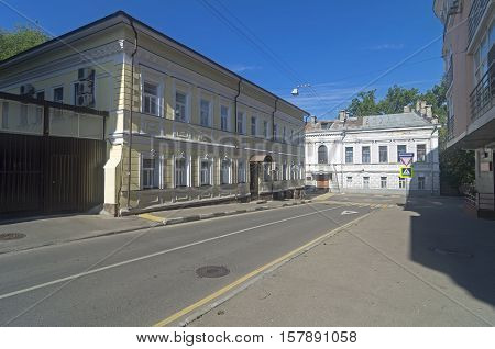 MOSCOW RUSSIA - JULY 31 2016: The architecture of old Moscow. Crossing of Martynovsky and big Drovyanoy lanes. Sunny morning in July.