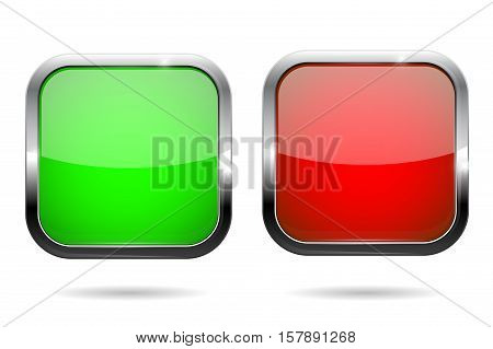 Green and red square buttons. Web icons with chrome frame. Vector illustration isolated on white background