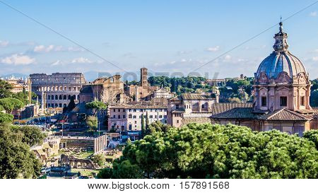 panoramic cityscape of Rome with the Colosseo Italy