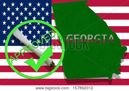 Georgia On Cannabis Background. Drug Policy. Legalization Of Marijuana On Usa Flag,
