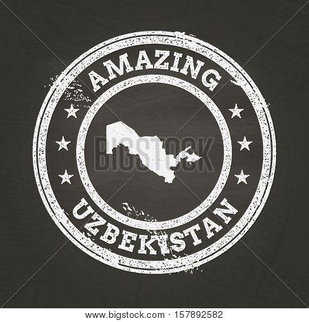 White Chalk Texture Vintage Stamp With Republic Of Uzbekistan Map On A School Blackboard. Grunge Rub