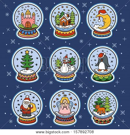 Vector color set of snowballs, colorful Christmas stickers