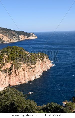 View of Begur Coast in the background the port of Fornells Costa Brava Girona province Spain