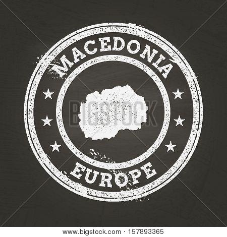 White Chalk Texture Grunge Stamp With Former Yugoslav Republic Of Macedonia Map On A School Blackboa