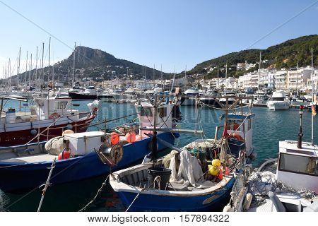 Fishing port of l'Estartit Costa Brava Girona province Catalonia Spain