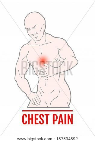 medical illustration of chest pain in humans. an attack of pain. scheme for textbooks. internal organs.