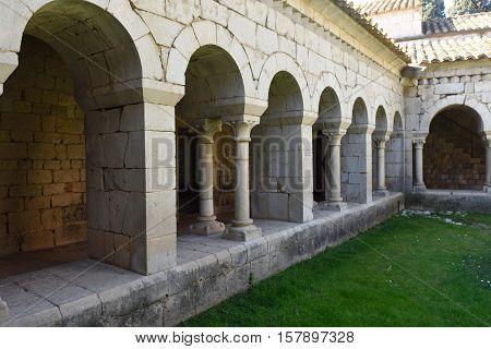Romanesque cloister of the Monastery of Santa Maria de Vilabertran Alt Emporda Girona province Spain