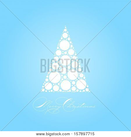Holiday card theme with dotted snowy white tree on blue background and label Merry Christmas. Simple elegant and modern vectror illustration.