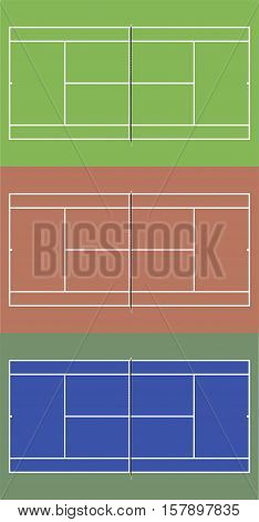 Tennis courts set. Top view vector illustration