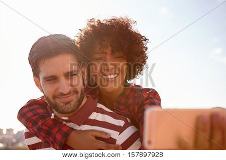 Selfie Taking Smiling Young Millenial Couple