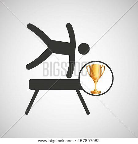silhouette man gymnastic pommel horse trophy vector illustration eps 10