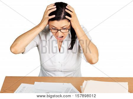 Portrait of a Screaming Businesswoman with Financial Figures