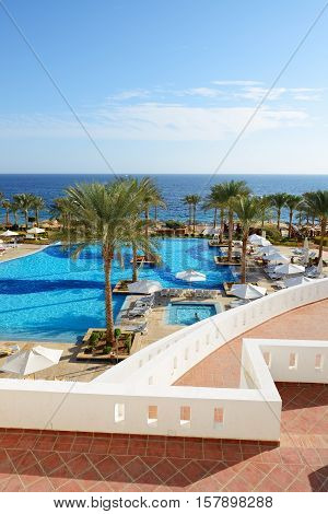 Swimming pool and beach at the luxury hotel Sharm el Sheikh Egypt