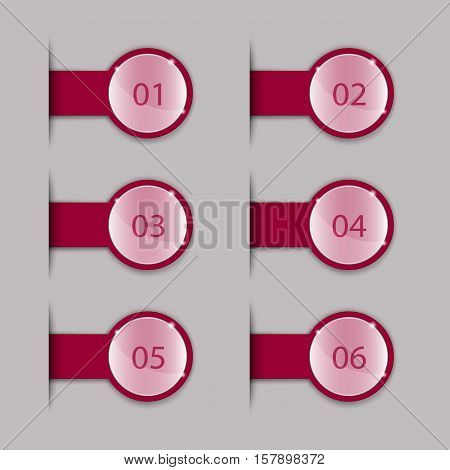 Crimson Tabs for Webpages. Set on a Light Background.