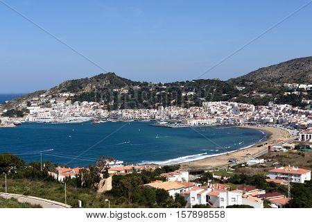 Elevated view of the village of Port de la Selva Girona province Catalonia Spain