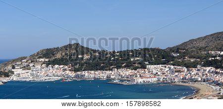 Elevated view of village of Port de la Selva Girona province Catalonia Spain