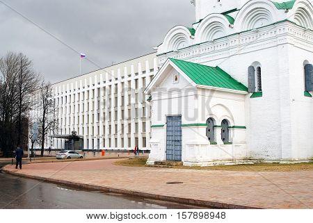 NIZHNY NOVGOROD RUSSIA - APRIL 23 2015: View of Kremlin in Nizhny Novgorod Russia. Michael Archangels church. Popular touristic landmark.
