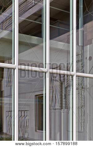 BERLIN GERMANY - JULY 2014: Facade of The Corbusier Haus was designed by Le Corbusier in 1957 following his concept of Unite d'Habitation (Housing Unit)