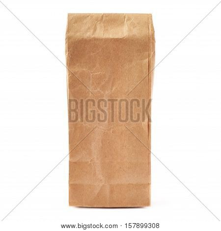 Craft brown closed paper pack for tea or coffee isolated over white background