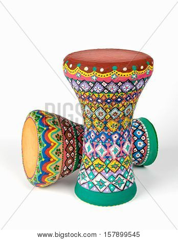 Colorful painted pottery goblet drums (chalice drum, darabuka, debuka, doumbek, dumbelek, toumperleki, tablah), goblet shaped body percussion musical instrument used mostly Middle East, North Africa